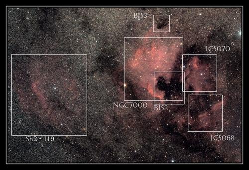NGC7000, IC5068, IC5070, Sh2-119, ...