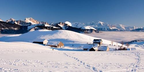 Panorama sur Ajon et le Mont-Blanc