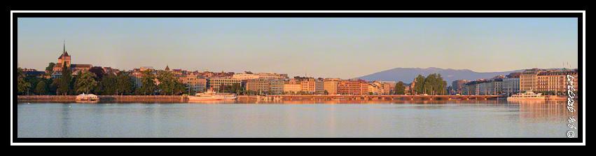 Vue sur la rade de Genève depuis la jetée du Jet d'eau